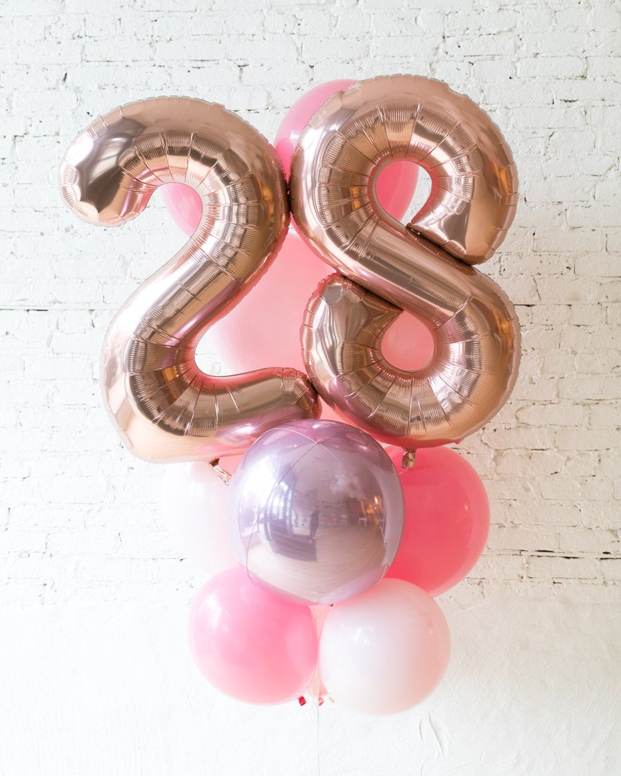GIFT-Pink Palette Foil Number and Latex Balloon Bouquet