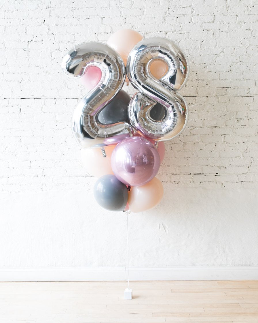 GIFT-Soft Pink and Grey Palette Foil Number and Latex Balloon Bouquet