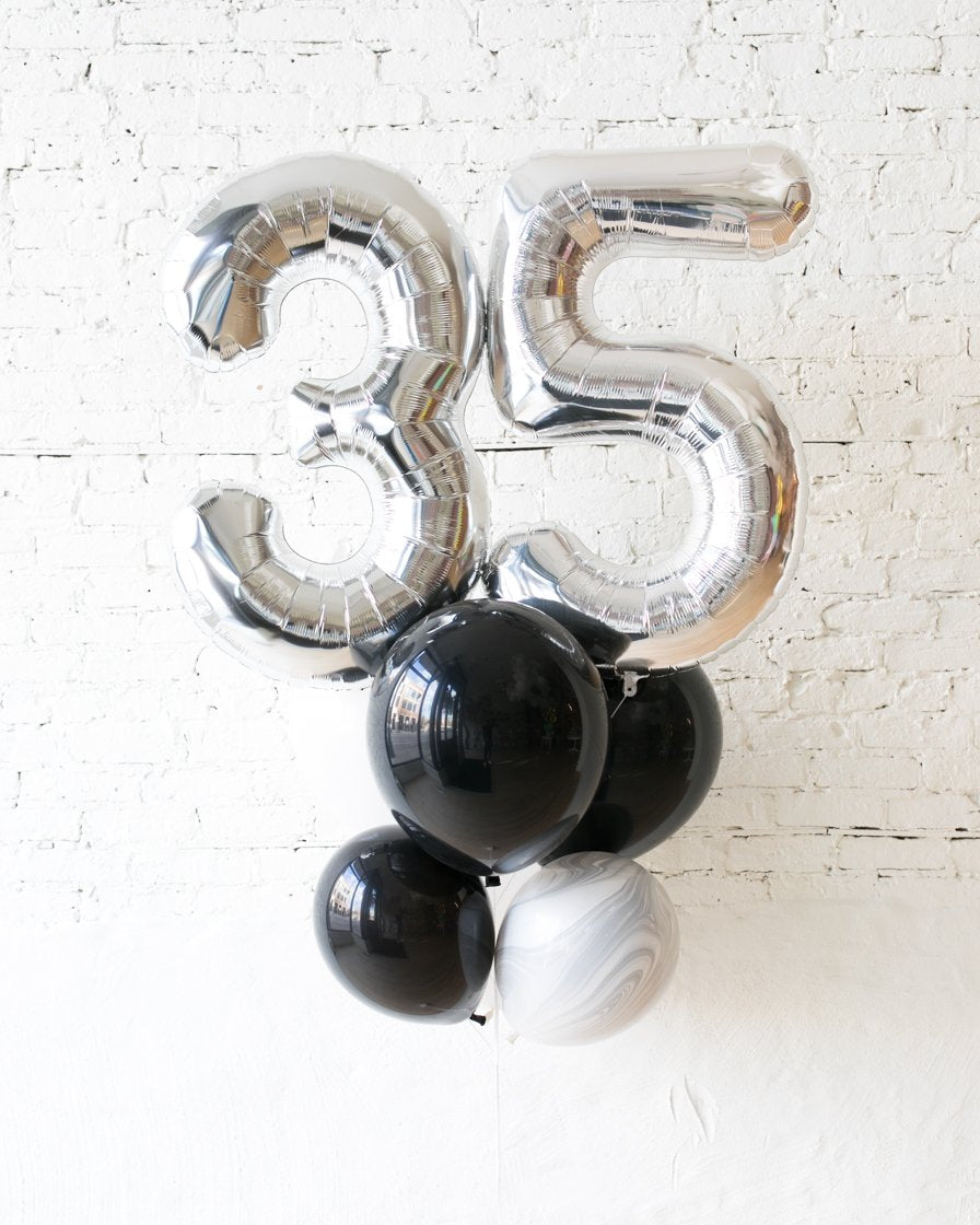 GIFT-Black and White Marble Palette Foil Number and Latex Balloon Bouquet