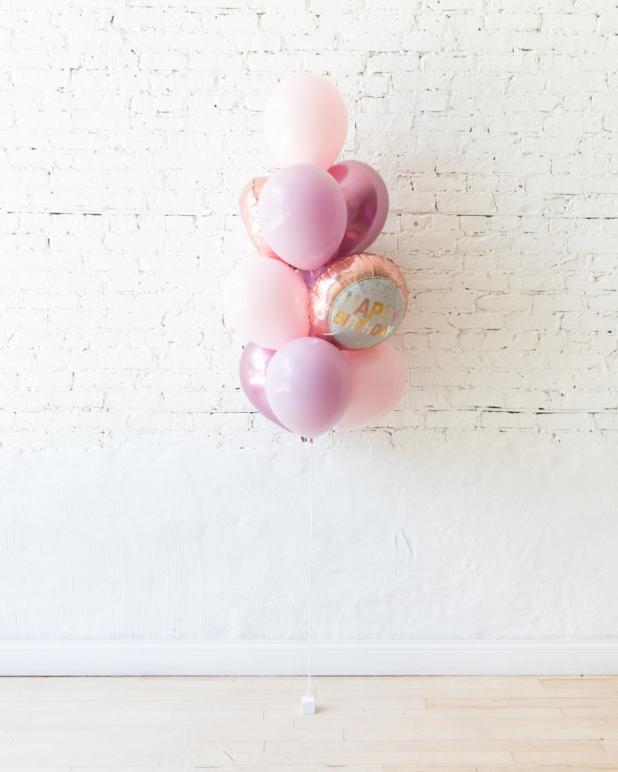 GIFT-Shades of Mauve Palette Happy Birthday Balloon Bouquet