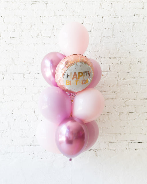 Shades of Mauve Palette Happy Birthday Foil and 11in Balloons - bouquet of 10