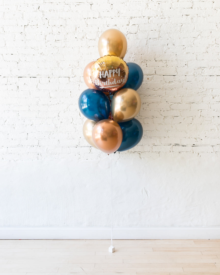GIFT-Navy, Copper and Gold Palette Happy Birthday Balloon Bouquet