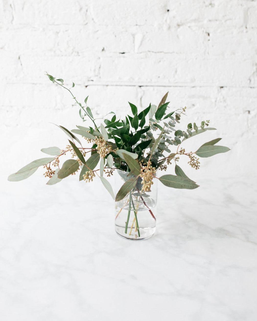Ruscus and Eucalyptus Arrangement Centerpiece
