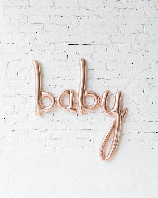 46in Rose Gold BABY Script Foil Balloon Set