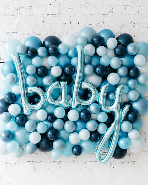 Shades of Blue Palette Baby Script Balloon Backdrop Board - small