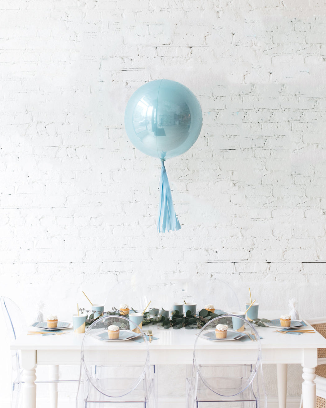 16in Pastel Blue Orb Foil Balloon and French Blue Skirt Centerpiece