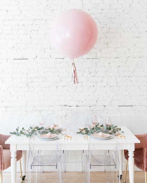 Pearl Light Rose Giant Balloon and Rose Gold Skirt Centerpiece