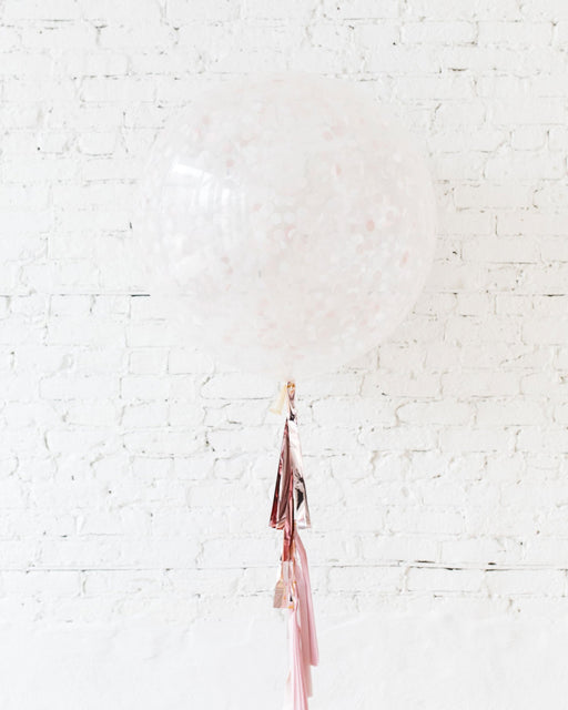 Pink Confetti Giant Balloon and Ombre Pink Tassel