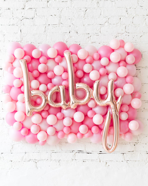 Shades of Pink Palette Baby Script Balloon Backdrop Board - small