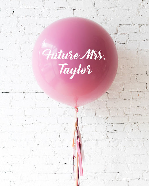 Berry Blush - Personalized Future Mrs. Balloon with Tassel