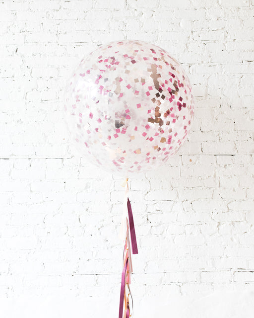 Berry Blush - Confetti Giant Balloon with Tassel