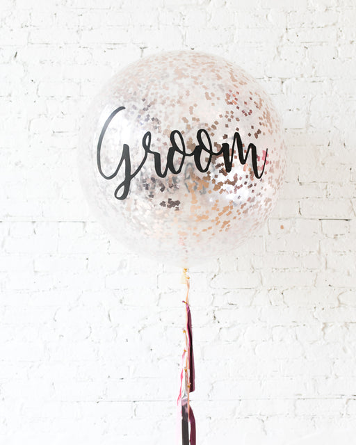Berry Blush - GROOM Confetti Giant Balloon with Tassel