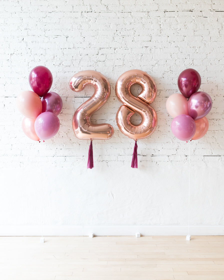 Berry Blush - Numbers & 11in Balloon Bouquets Set