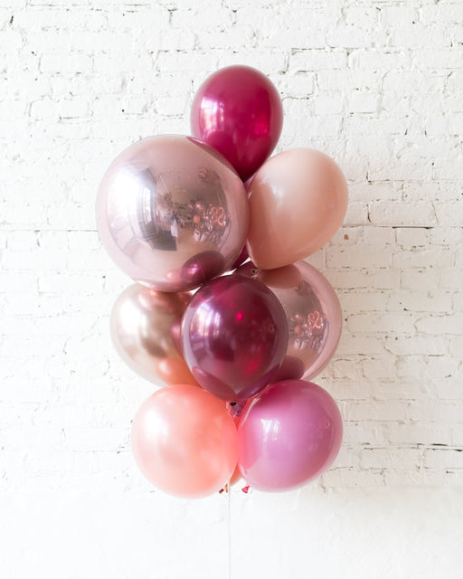 Berry Blush - Orbs and 11in Balloons - bouquet of 10