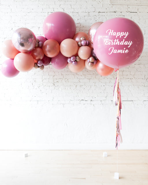 Berry Blush - Floating Balloon Arch & Personalized Giant Balloon Set