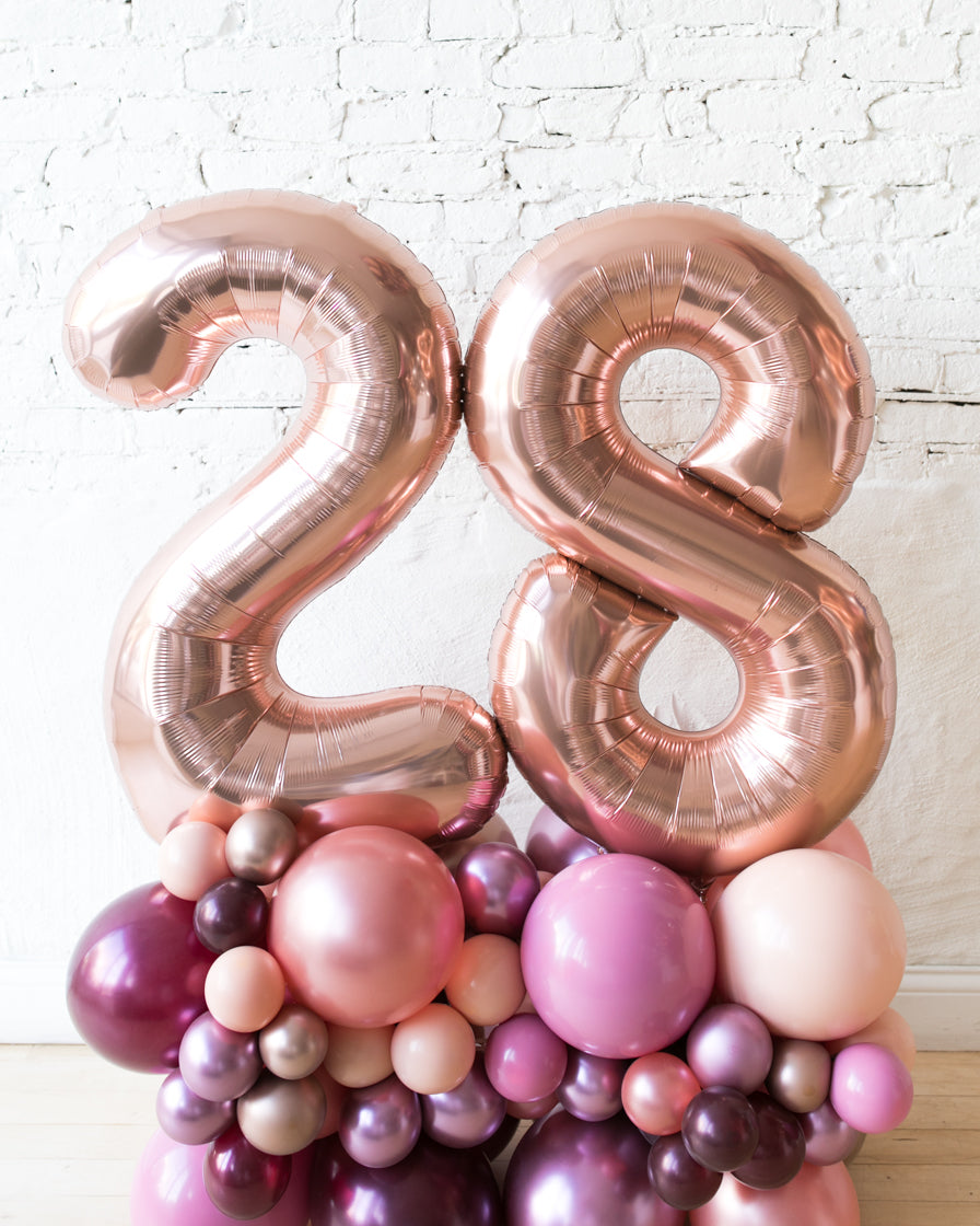 Berry Blush - Foil Number on Balloon Pedestal - 3ft
