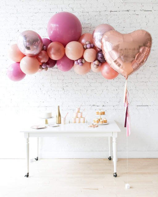 Berry Blush - Floating Arch & Heart Foil Balloon Set