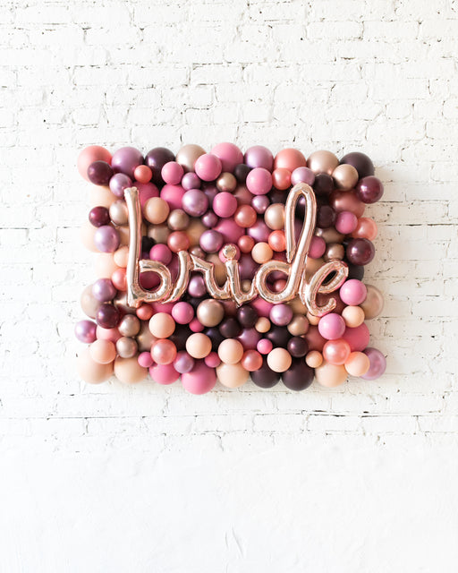 Berry Blush - BRIDE Balloon Backdrop Board - 30inx40in