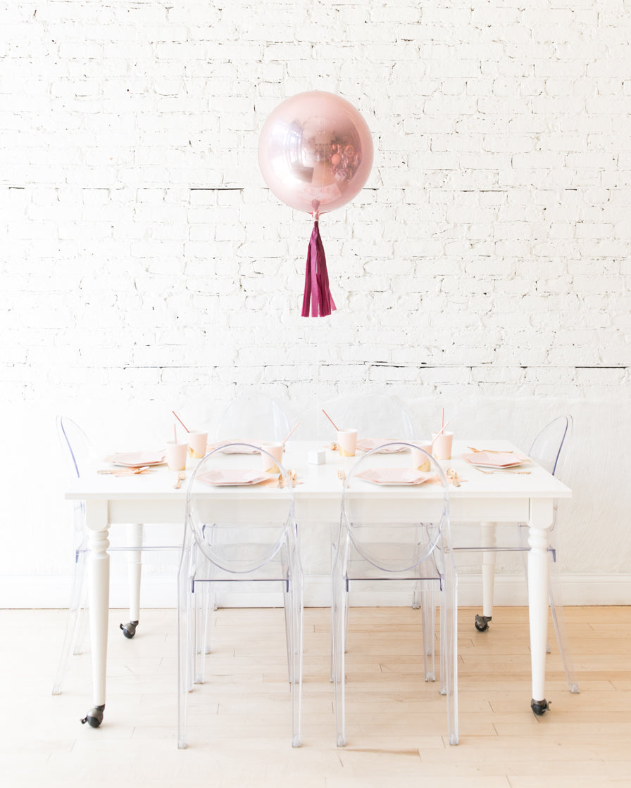16in Rose Gold Orb Foil Balloon with Burgundy Skirt Centerpiece