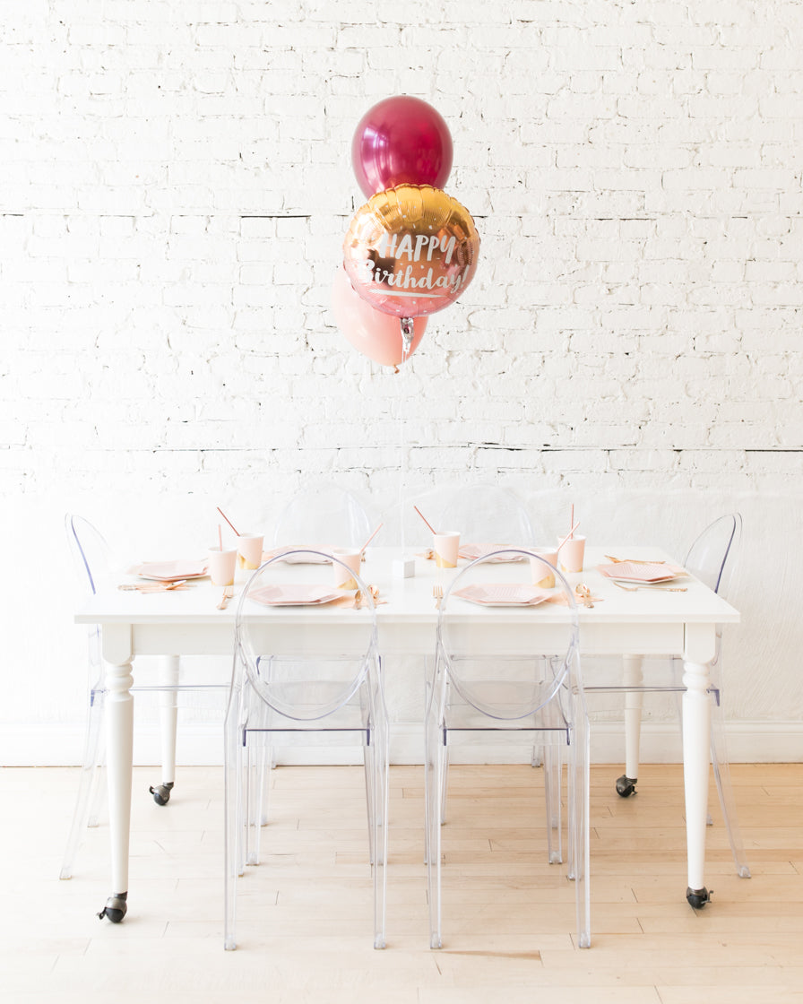 Berry Blush - Happy Birthday Foil and 11in Balloons Centerpiece - bouquet of 3