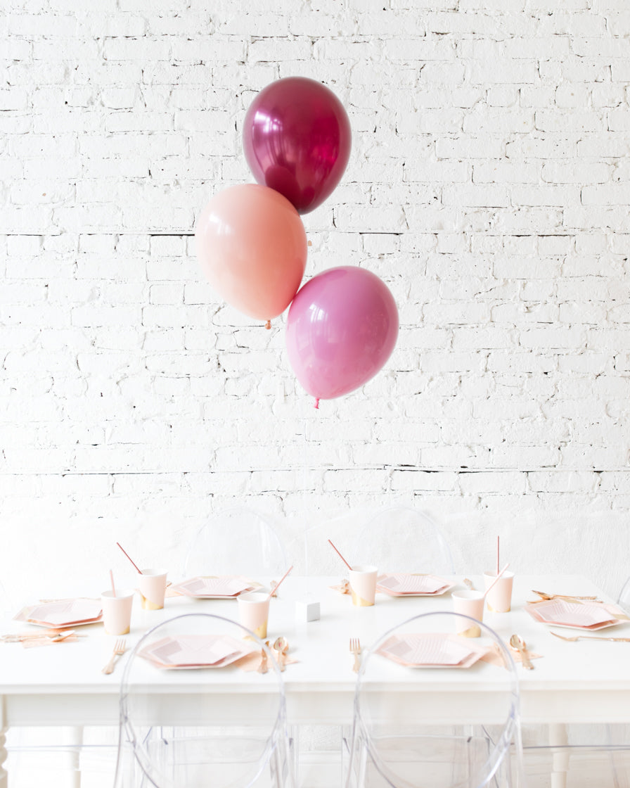 Berry Blush - 11in Balloons Centerpiece - bouquet of 3
