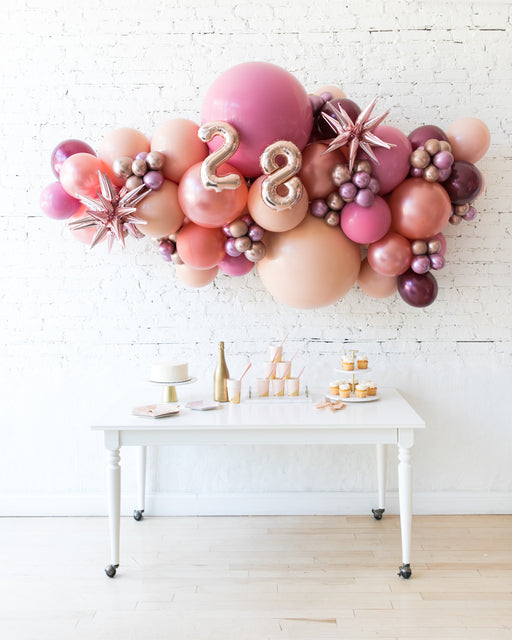 Berry Blush - Number Backdrop Balloon Garland Install Piece