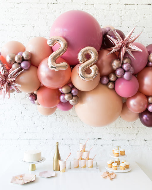 Berry Blush - Number Backdrop Balloon Garland Install Piece - 6ft