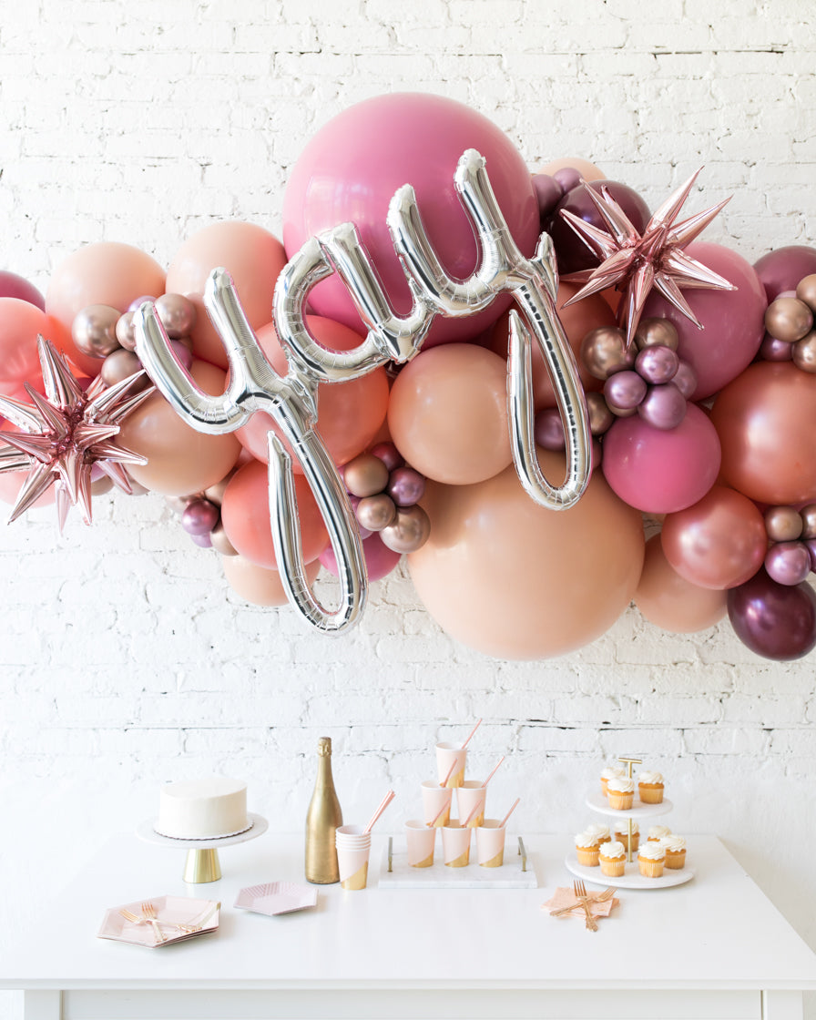 Berry Blush - Yay Script Backdrop Balloon Garland Install Piece - 6ft