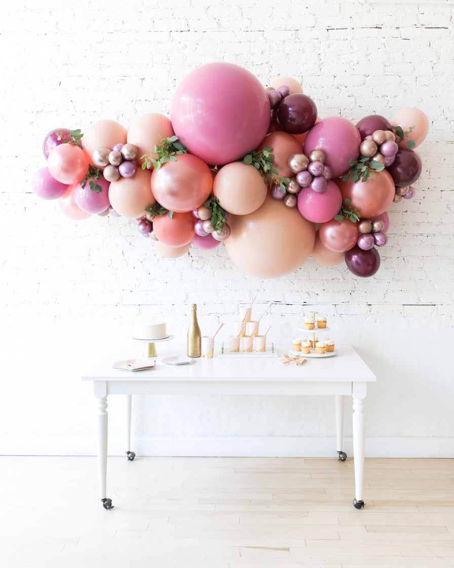 Berry Blush Backdrop Balloon Garland Install Piece With Greenery 6 Paris312