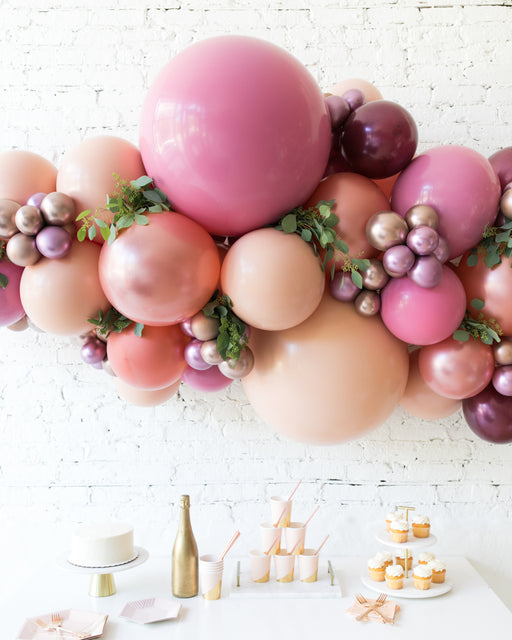 Berry Blush - Backdrop Balloon Garland Install Piece with Greenery - 6ft