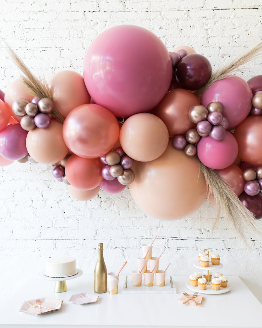 Berry Blush - Backdrop Balloon Garland Install Piece with Pampas Grass - 6ft