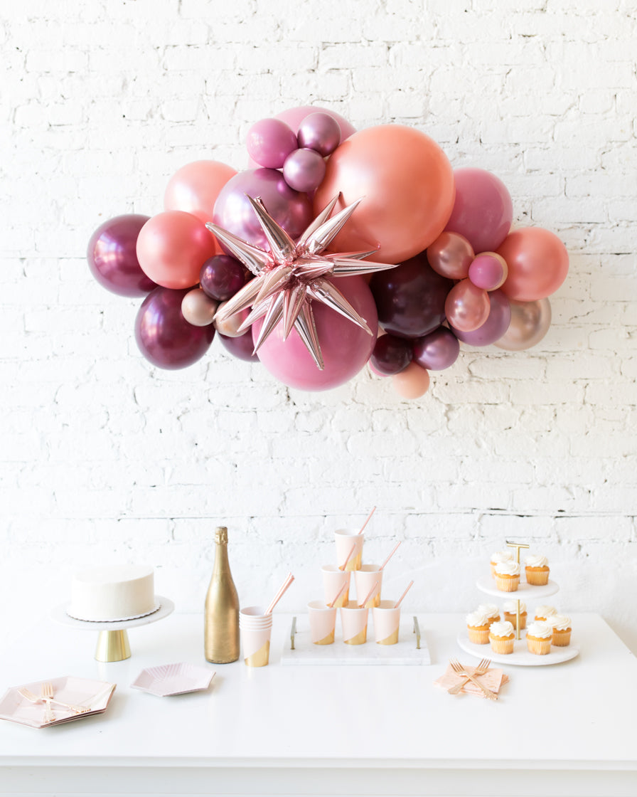 Berry Blush - Magic Star Backdrop Balloon Garland Install Piece - 3ft
