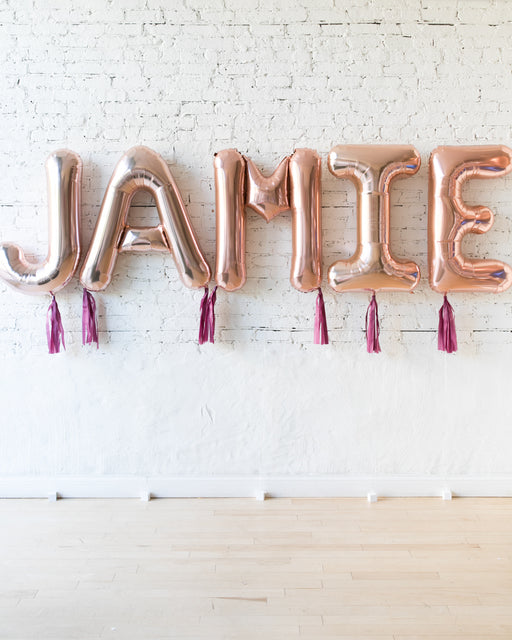 34in Rose Gold Individual Foil Letter with Burgundy Skirt
