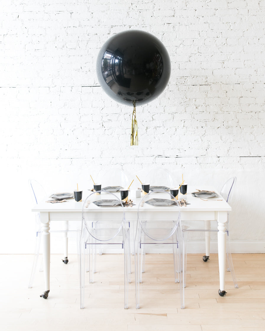 Black Giant Balloon with Gold Skirt Centerpiece