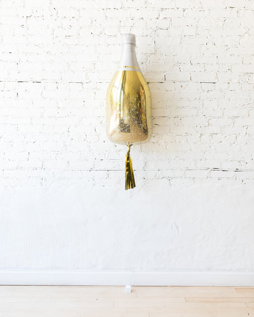 36in Gold Champagne Bottle Foil Balloon with Gold Skirt