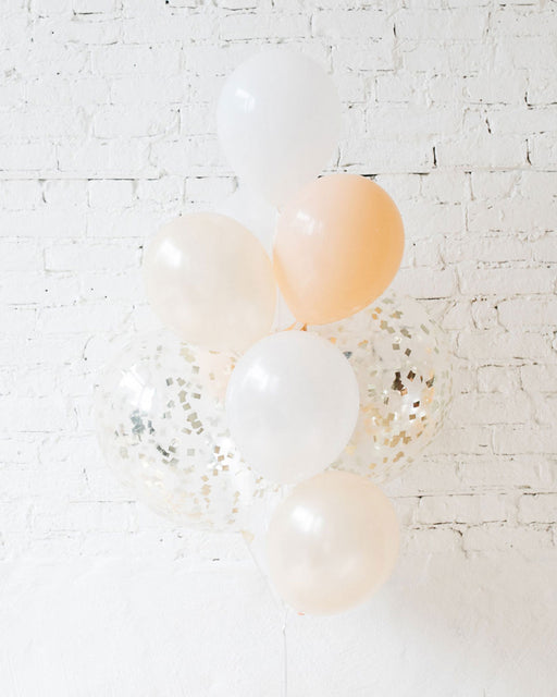 White and Blush Palette Confetti and 11in Balloons - bouquet of 10