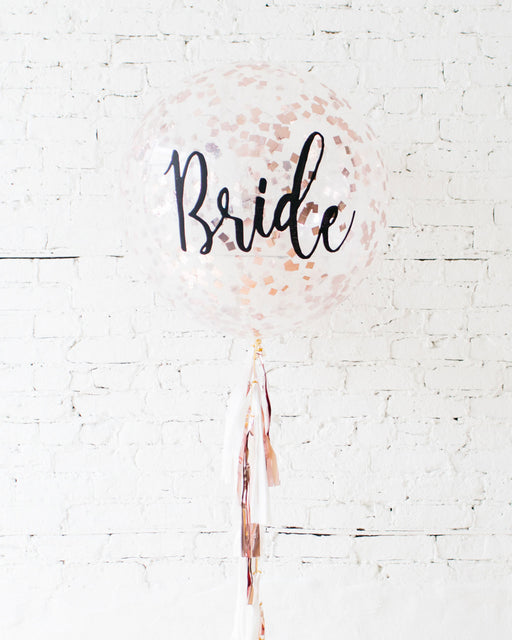 Bride Confetti Giant Balloon and White & Rose Gold Tassel