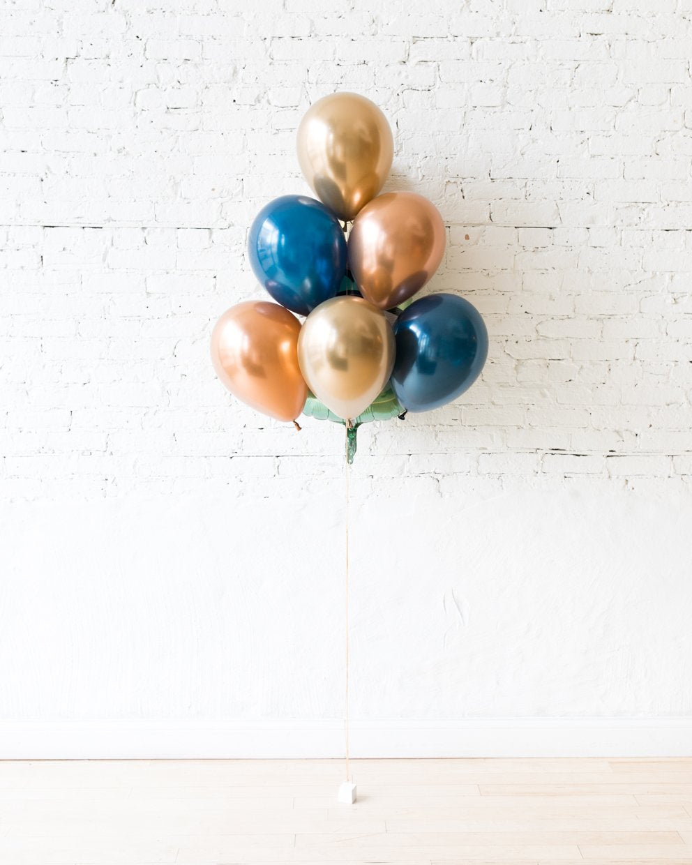 GIFT-Gold, Navy and Copper Palette Champagne Bottle Foil and 11in Balloons - bouquet of 7