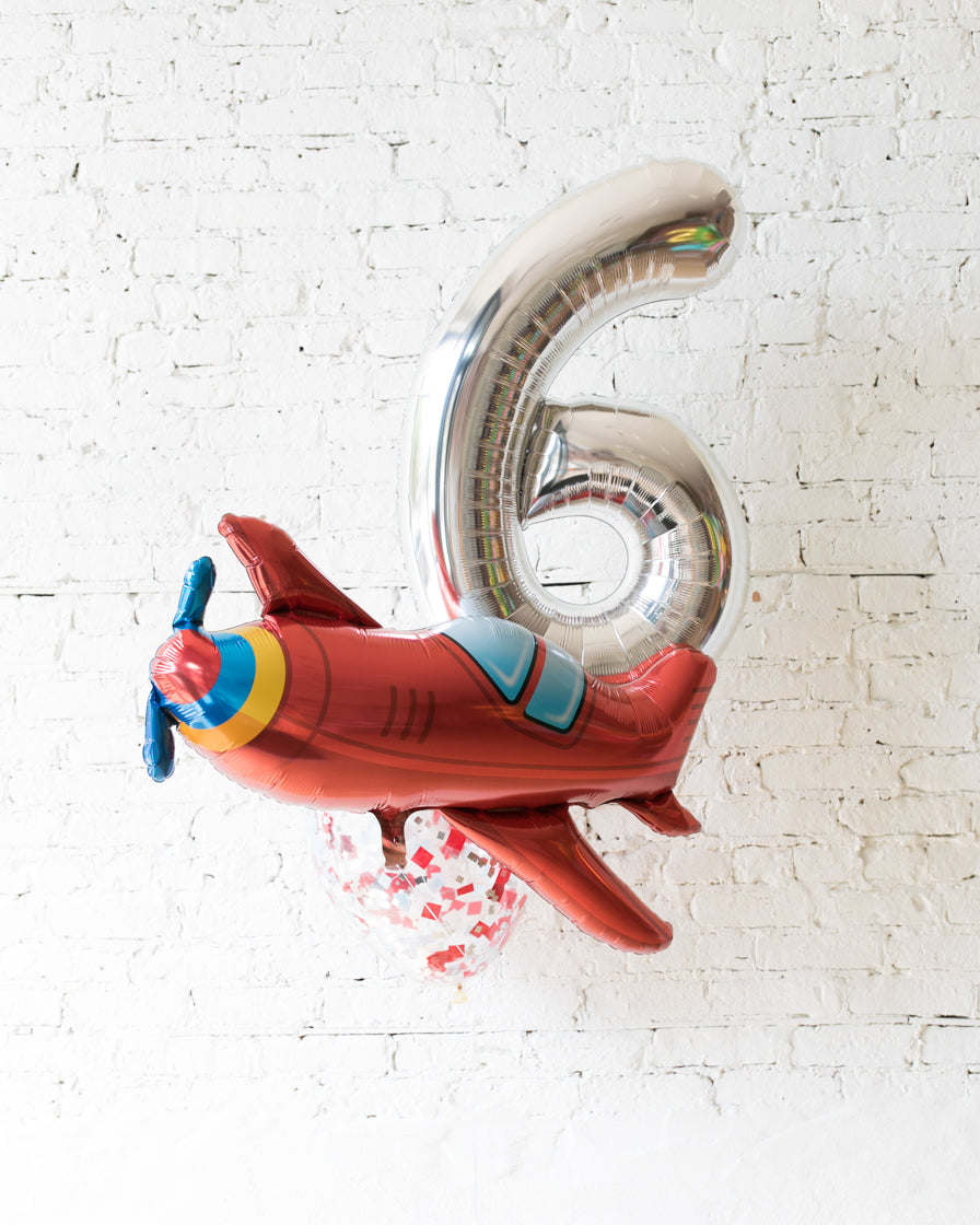 GIFT-Airplane Theme Number Birthday Bouquet