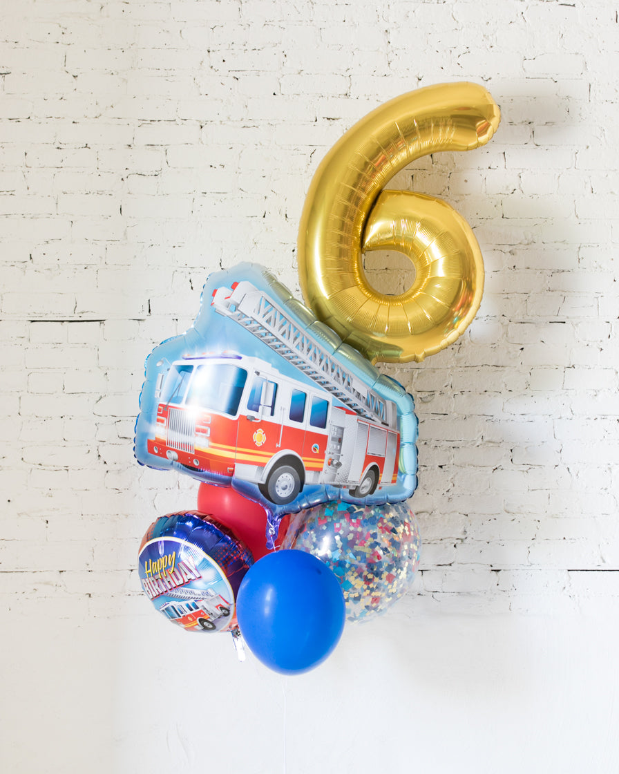 GIFT-Firetruck Theme Number Birthday Bouquet