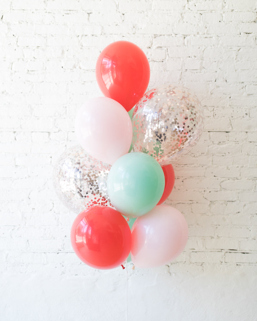 Holiday Theme - Confetti and 11in Balloons - bouquet of 10