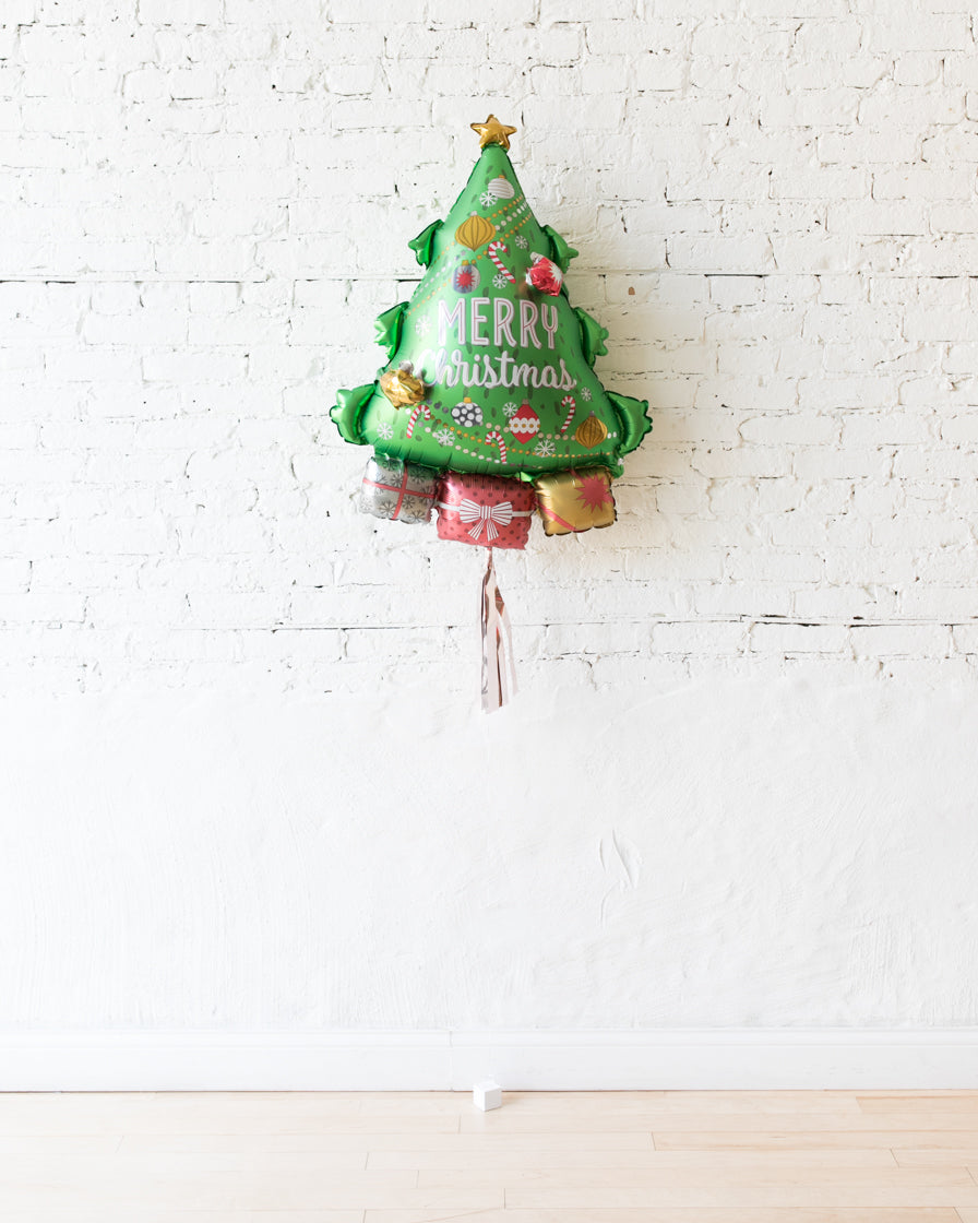 34in Christmas Tree Foil Balloon with Rose Gold Skirt