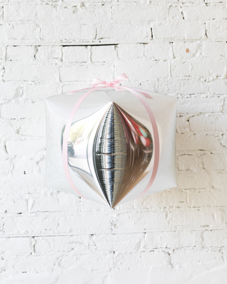 16in Silver Present Foil Balloon with Pink Bow