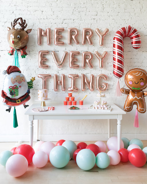 Holiday Theme - Foils, Letters and Floor Ballon Set