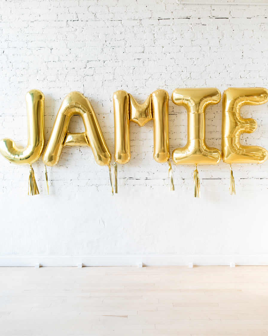 34in Gold Individual Foil Letter with Gold Skirt