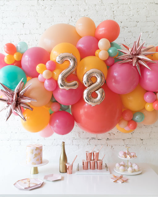 Colorful Bloom - Number Backdrop Balloon Garland Install Piece