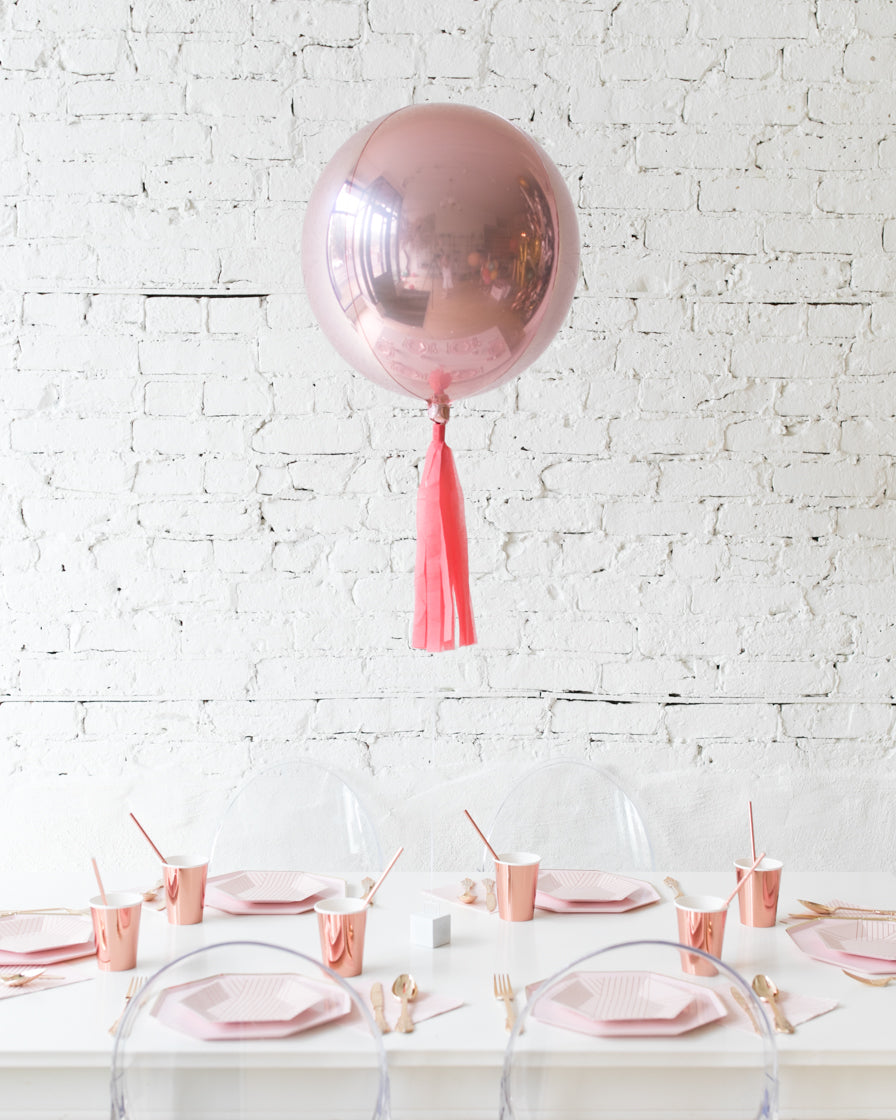 16in Rose Gold Orb Foil Balloon with Coral Skirt Centerpiece