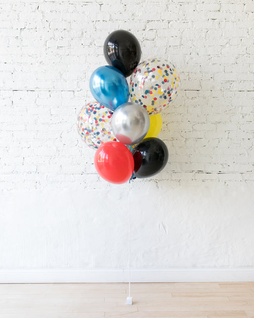 Superhero Theme - Confetti and 11in Balloons - bouquet of 10