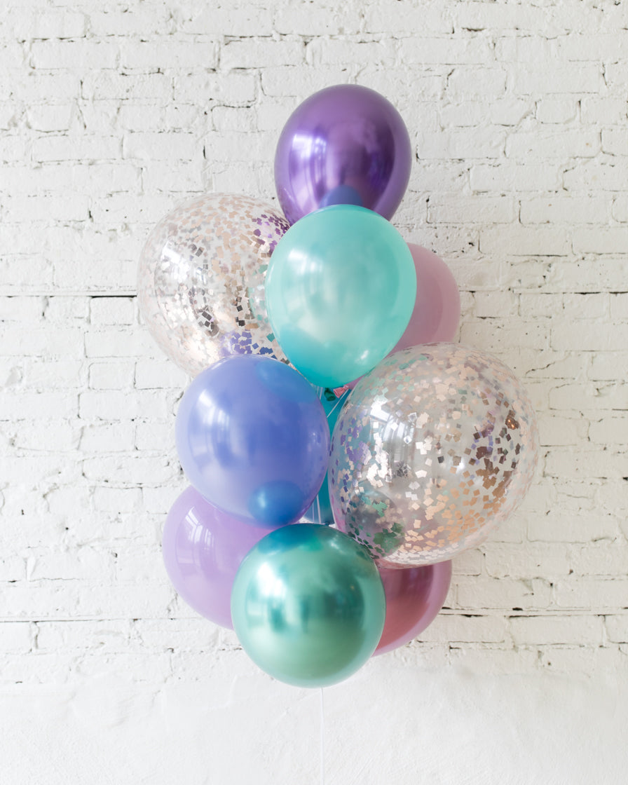 GIFT-Mermaid Theme Confetti and 11in Balloons - bouquet of 10