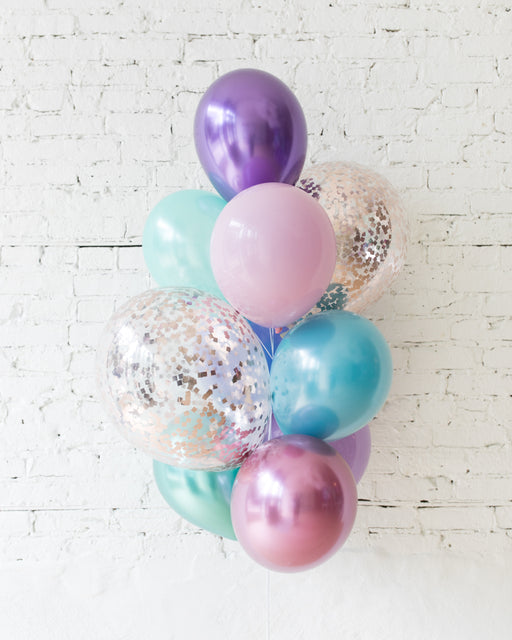 Mermaid Theme Confetti and 11in Balloons - bouquet of 10